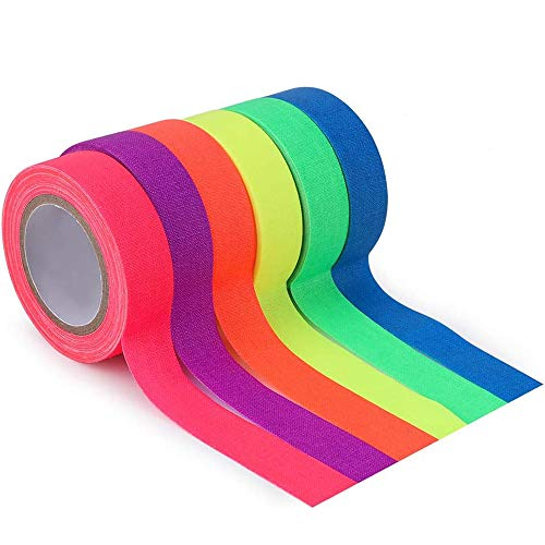 Neon Tape [6 Rollos] Cinta Adhesiva,UV Fluorescente Luz Negra, Neón Gaffer Tape, Glow In The Dark, Blacklight, 6 Colores, 15MM*5M Por Rollo, Para Suministros De Fiesta De Luz Negra