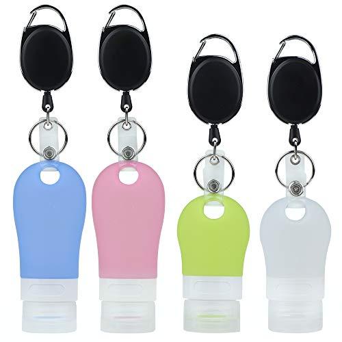 Silikon-Reiseflaschen-Set, auslaufsicher, leer, tragbar, nachfüllbar, mit einziehbarem Karabiner, bis zu 65 cm, für Flüssigkeiten, Handdesinfektionsmittel und Toilettenartikel, 4 Stück