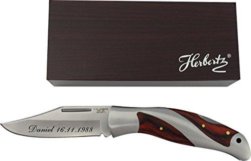 TH-Design EIN sehr schönes Taschenmesser mit einem attraktiven Edelstahl-Heft und Pakkaholz-Einlagen inkl. Gravur Wunschtext