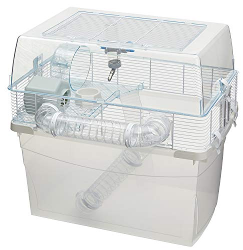 Duna Space Gerbil & Hamster Cage, Extra-Deep 11.5-Inch Base Promotes Instinctual Burrowing While Containing Litter & Debris, Includes ALL Accessories and Play Tunnels, 22.6L x 18.7W x 21.5 Inches