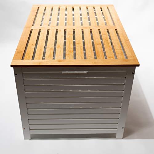 Limal Wäschesammler mit 2 Kammern Bambus Wäschekiste Wäschetruhe Wäschekorb mit Deckel weiß 60 x 70 x 55 cm - 6