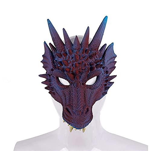 WWWL Máscaras Halloween, 2021 Mardi Gras Halloween Carnival Party PU Máscara del dragón del dragón del dragón Chino 3D de la Espuma Cosplay Dragon Mascarilla de Miedo