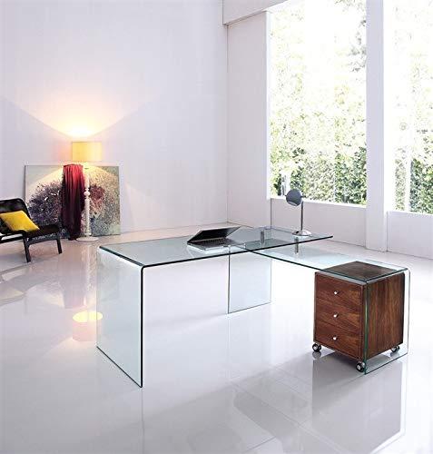 HABITMOBEL Mesa Oficina Mesa + Mesa ala, Cristal Transparente (BUC cajones no Incluido)