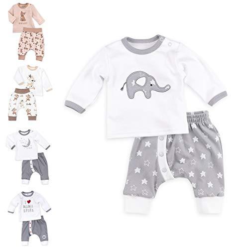 Baby Sweets Unisex 2er Baby-Set mit Hose & Shirt für Mädchen & Jungen/Baby-Erstausstattung in Grau & Weiß im Elefant-Motiv/Baby-Kleidung aus Baumwolle in Größe: 3 Monate (62)