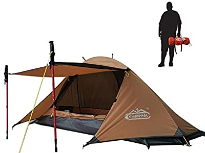 camppal Professional 1 Person Single Extreme Space Saving Single Bracket Tent, 4 Season Mountain Tent, Lightweight Backpacking Tents, Strong Durable Waterproof Outdoor Hunting Hiking Camping Tent