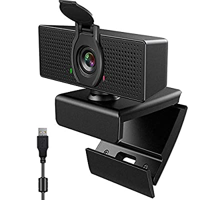 [Upgraded] Webcam with Microphone & Privacy Cover, 1080P HD Webcam, USB Plug and Play Laptop PC Desktop Web Camera, 110-Degree View Angle Computer Camera for Video Calling Recording Conferencing