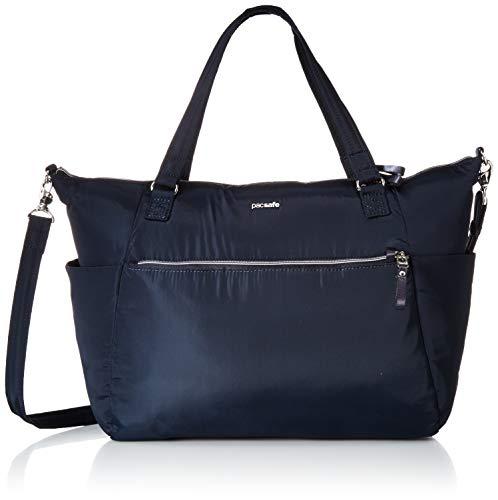 Pacsafe Stylesafe Tote Shoppertasche, Schultertasche für Damen, Handtasche mit Diebstahlschutz, Umhängetasche mit Sicherheits-Features, 14,5 Liter, Blau/Navy