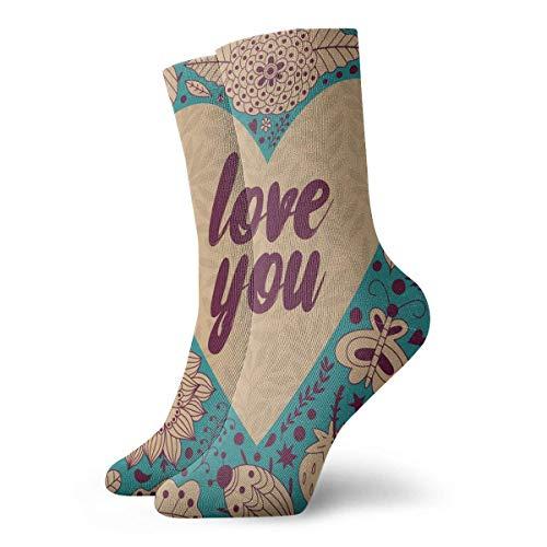 NGMADOIAN grappige gekke Crew sok Valentijnsdag sjabloon wenskaart bloemen gedrukt print sport atletische sokken 30 cm lang gepersonaliseerde cadeausokken