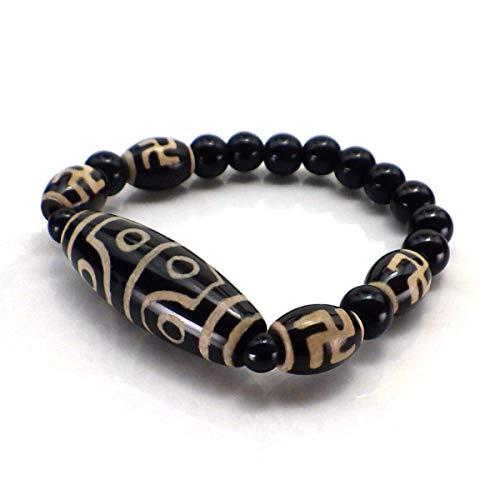 天珠ブレスレット(八眼・萬字) [天然石/天珠ブレス/メンズ/レディース/風水] (L(腕周り約18cm))