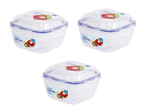 LOCK & LOCK Salat-to-go Brotdose aus Kunststoff – 3er Vorratsdosen Set – Salat Lunchbox mit Topping Einsatz und Dressing Behälter – 950 ml