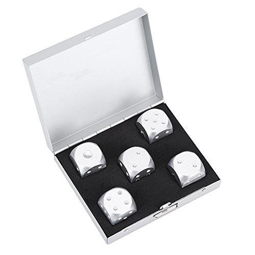 Alomejor 6-Seitige Würfel Set Spot Würfel mit Box für Mathe-Lernspiele Mitbringsel und Geschenke Silber Gold Würfel(Silver-Square Box)