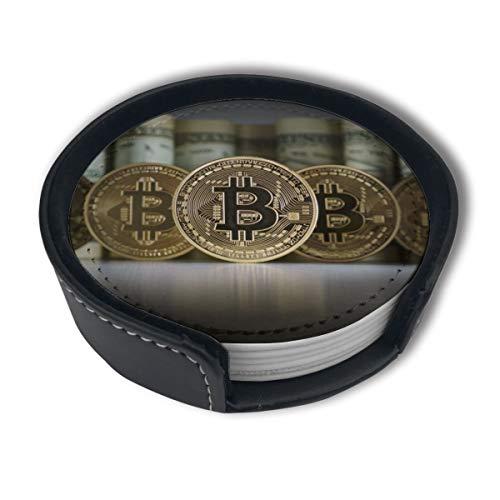 BJAMAJ Dollar-Untersetzer, Geldbörse und Bitcoin, Premium-PU-Leder, rund, mit Halterungen, geeignet für Zuhause und Küche, 6 Stück