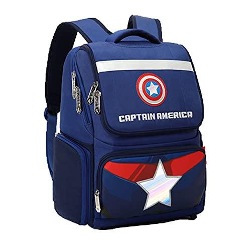 Xyh723 Mochila De Capitán América para Niños Libro De Superhéroe Viajes Maleta Vacaciones Adolescentes Fanáticos De Películas Regalo De Cumpleaños,BlueA-One Size
