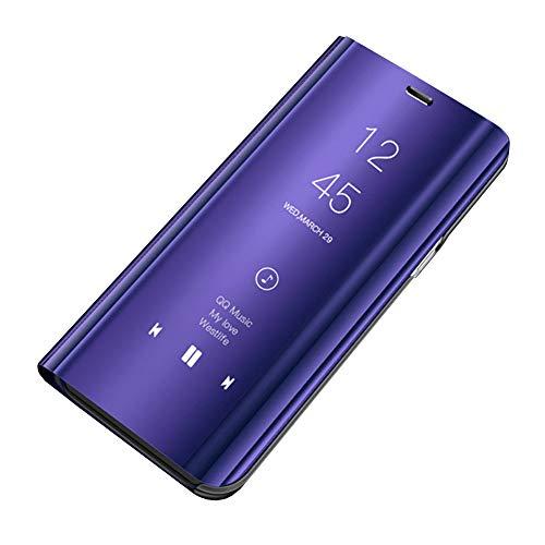 Huawei Mate 20 Pro Leder Hülle Mirror Case Spiegel Handyhülle PU Leder Flip Case Cover Handy Schutz Echtleder Stand Rückschale Bumper Tasche Schutzhülle für Huawei Mate 20 Pro (Lila)