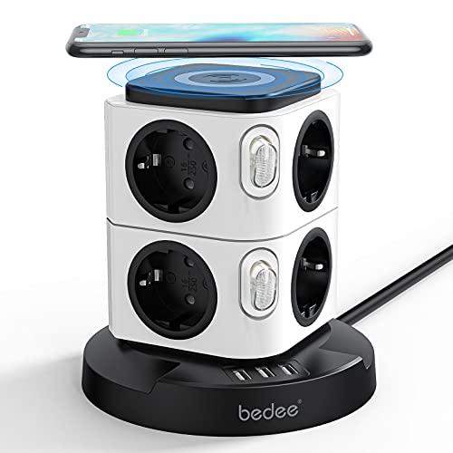 bedee Steckdosenleiste Mehrfachsteckdose 8 Fach Steckdosenturm + 3 USB Steckdosen mit Wireless Ladegerät, 12-in-1 Steckdosenadapter mit Save Energy-Schalter für Haushaltsgerät, Smartphone, Mp3, PC