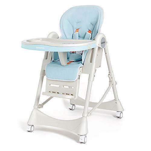 Jian E Baby kinderstoel - metaal + PU zitkussen, 6 maanden - 4 jaar oud baby multi-functie multi-speed aanpassing gratis installatie inklapbare draagbare vuile veiligheid baby eten stoel stoel stoel stoel - 6 kleur Fresh Blue
