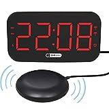 Doherty - Sveglia digitale a LED con sveglia a vibrazione, sensore di luce, luce notturna a 7 colos, 3 livelli di regolazione del volume USB