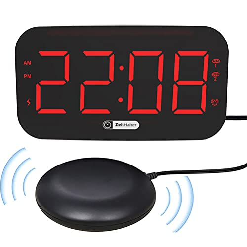 Roexboz Despertador con vibración, gran pantalla LED, reloj despertador digital, con control de brillo y repetición, fácil de usar para dormitorio, oficina