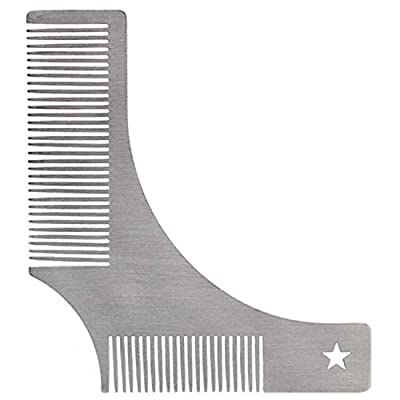 1 PCS Beard Shaping Tool Template Stainless Steel Tool Beard Trimming for Beard Shaping Stencil for Men Lightweight and Flexible One Size Fits All Curve Cut by yiyi