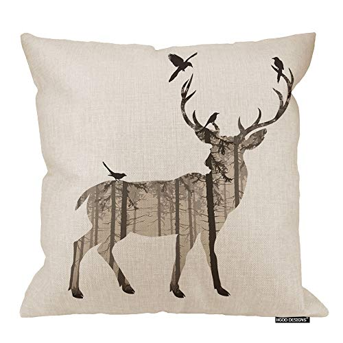 HGOD DESIGNS Fashion Deer Sofa Bed Home Decor Pillow Case Forest Deer with Bird Art Cushion Cover Cotton Linen 18 X 18 Inch