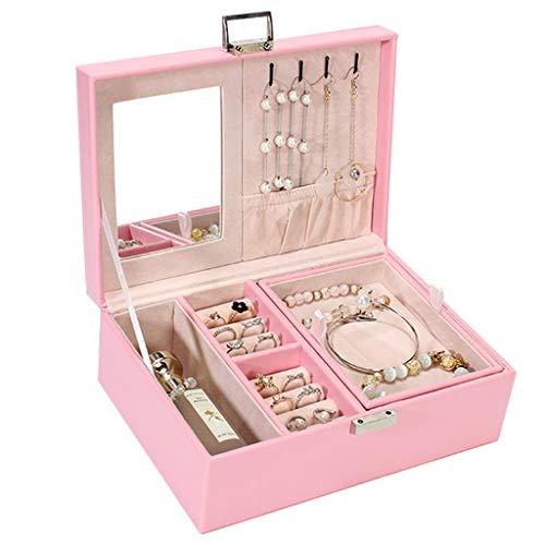 CRYA Modische Schmuckschatulle abschließbar, Aufbewahrungsschachtel für Damenaccessoires, angemessene Trennwand, weiches Flanellfutter, für Schlafzimmer Ankleidezimmer, Pink