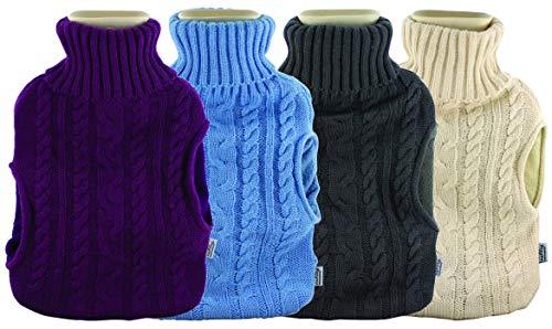 Guilty Gadgets - Borsa dell'acqua calda da 2 l, con tasche, per regali in lana, per sollievo dal dolore, lavorato a maglia con scaldamani in pile, riutilizzabile, colori assortiti