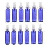 Kinhevao Aerosol 12piece Viaje de Botella rellenable Niebla atomizador Vacío Botella plástica del Aerosol de Perfume Maquillaje líquido for Viajes 60ml Azul