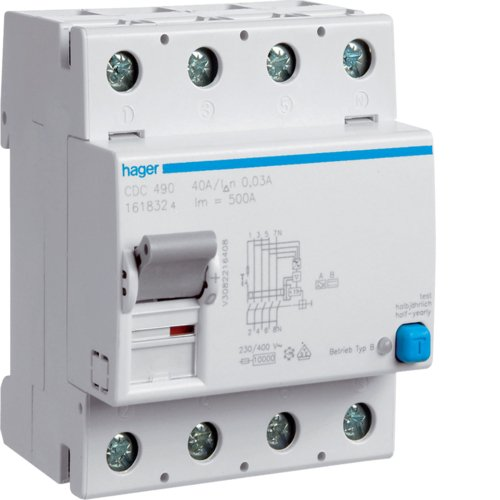Hager CDC490 - Interruptor diferencial ACC. 4P 30 mA 125 A tipo AC4M