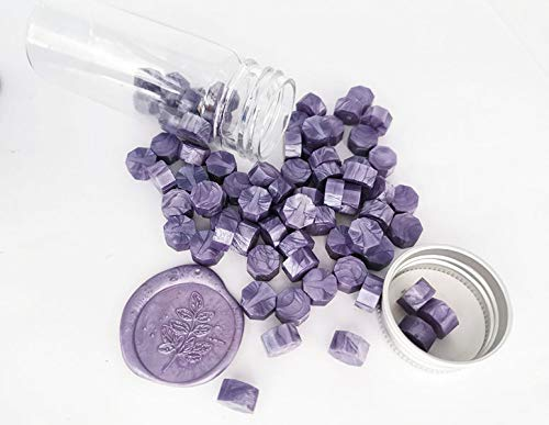 Gpeal 80 Pieces Metallic Lavendar Sealing Wax Beads Wax Seal Stamp Melts Beautiful Color Metallic Wax Beads Wedding Invitations Christmas Gift Cards Party Envelopes Christmas Gift Packages Sealing Kit