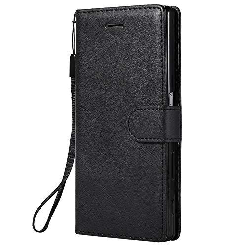 Hülle für Sony Xperia Z5 Hülle Leder,[Kartenfach & Standfunktion] Flip Case Lederhülle Schutzhülle für Sony Xperia Z5 - EYKT051761 Schwarz