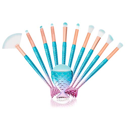 Maquillage Pinceaux Set 3D Brosse à Maquillage en Forme de Sirène Professionnel Brosses à Cosmétiques pour Fond de Teint, Crème en Poudre, Fard à Joues, Ombre à Paupières, 11 Pièces