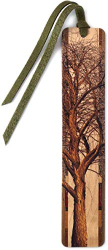Winter Willow Tree in Color Wooden Hand Made Bookmark on Maple with Green Suede Tassel - Search B07994B3C3 for Personalized Version