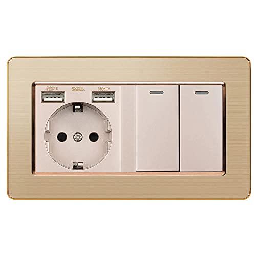 Zócalo con interruptor de balancín 220V 16A Toma de corriente de pared con USB 146 * 86 Panel de acero inoxidable con interruptor de luz 2Gang 1/2/3-Oro_2 Gang 1 Way