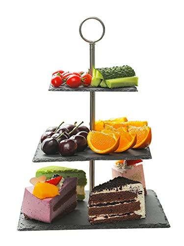 Alzata in Ardesia Quadrata - 3 Piani - Resistente - Antiscivolo - Espositore per Dolci, Torte, Frutta, Antipasti