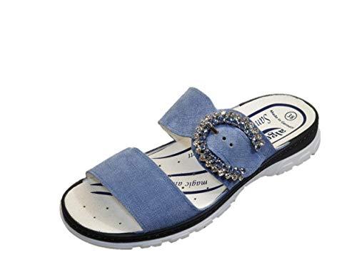 Algemare Damen Pantolette Damenschuhe, Leder Wechselfussbett Blau (41)