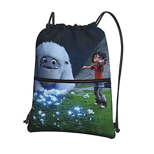 Lindo saco de gimnasio Abominable muñeco de nieve con cordón con cremallera interior y bolsillo bolsa de polietileno impermeable para hombres