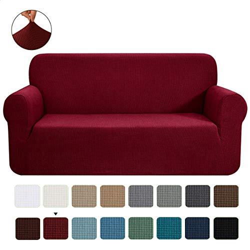 CHUN YI 1-Stück Jacquard Sofaüberwurf, Sofaüberzug, Sofahusse, Sofabezug für Sofa, Couch, Sessel, mehrere Farben (2 Sitzer, Bordeauxrot)