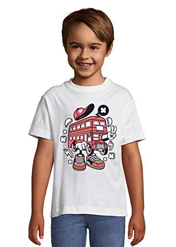 Cartoon Stijl Engeland Londen Iconische Rode Bus Kid's Crew Neck T-Shirt