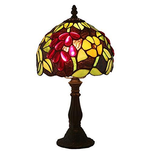 NANXCYR Lámpara de Mesa Estilo Tiffany, 8 Pulgadas Pastoral Grapes Morning Glory Lámpara de cabecera de Vidrio teñido Luz Hecha a Mano para niños para Dormitorio, Sala de Estar, Oficina