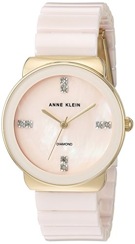 Anne Klein Women's AK/2714LPGB Diamond-Accented Gold-Tone and Light Pink Ceramic Bracelet Watch