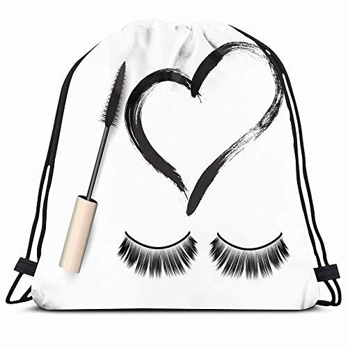 KAKALINQ Drawstring Backpack String Bag Eyelash False Eyelashes Mascara Fake Brush Black One Beauty...