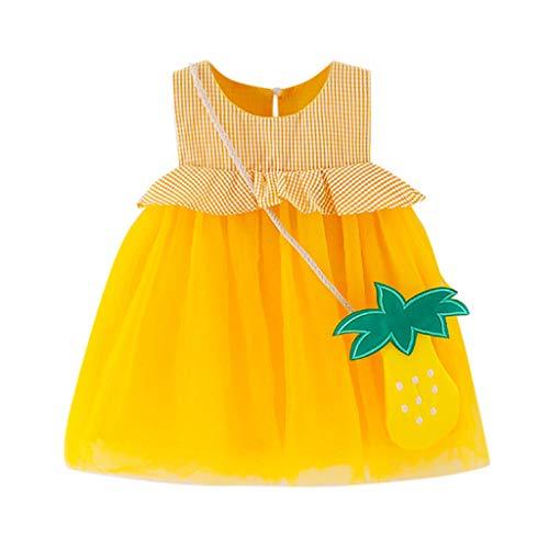 Julhold Kleinkind Kind Baby Mädchen Niedlich Karo Obst Gedruckt Tüll Party Prinzessin Baumwolle Kleid Kleidung 0-2 Jahre