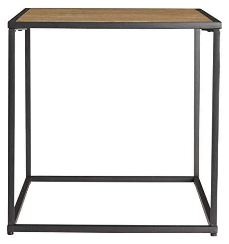 DAY USEFUL EVERYDAY - Mesa auxiliar, diseño escandinavo de MDF y cristal, diferentes tamaños, Metal – MDF, Color negro y madera., 42cm x 42cm x 42cm