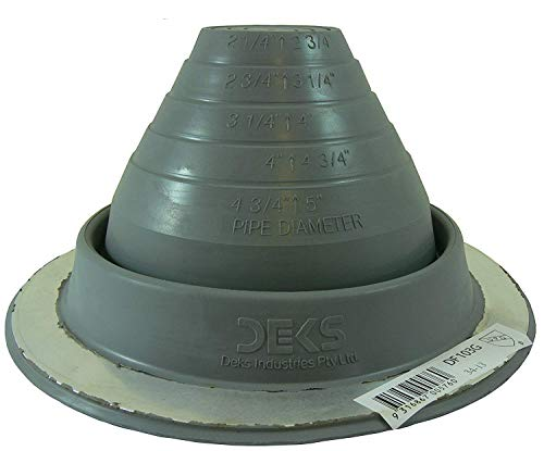 Dektite #3 Gray EPDM Metal Roof Pipe Flashing, Round Base, Pipe OD 1/4