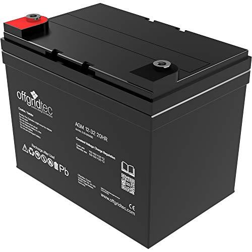 Offgridtec 32 Ah 12 V AGM Solar Batterie für zyklische Anwendungen, 2-01-001480 32 Ah