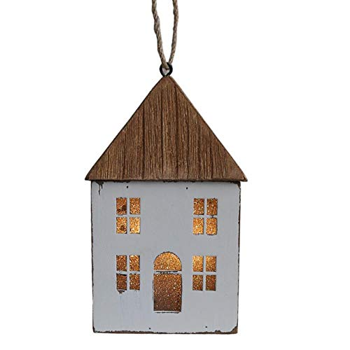 zhongzhichengcheng Traditions Ornaments Christmas Tree Decoration Wooden Lighthouse Led House Shape Ornaments