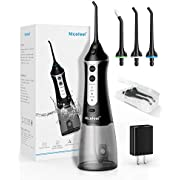 Cordless Water Flosser Teeth Cleaner, Nicefeel Professional Dental Oral Irrigator Portable and Rechargeable 300ML Cleanable Water Tank IPX7 Waterproof 3 Modes Water Flossing for Home and Travel, Brace