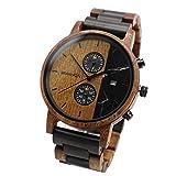 Branvon Loraan - Reloj de madera para hombre, analógico, con cronógrafo y fecha, cristal de zafiro, reloj de pulsera para hombre de madera de sándalo, pulsera de eslabones para acortar o alargar