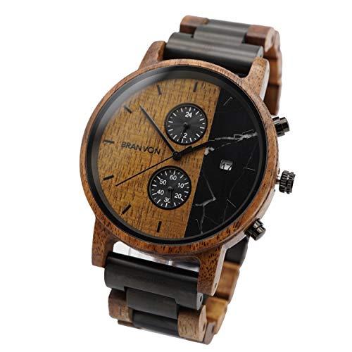 Branvon® Herren Holzuhr Loraan - Analog Herrenholzuhr mit Chronographen und Datumsanzeige - Saphirglas - Armbanduhr für Herren aus Sandelholz - Gliederarmband zum Kürzen oder Verlängern