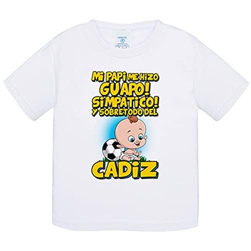 Camiseta bebé mi papi me hizo guapo simpático y sobretodo aficionado al fútbol de Cádiz - Blanco, 1 año
